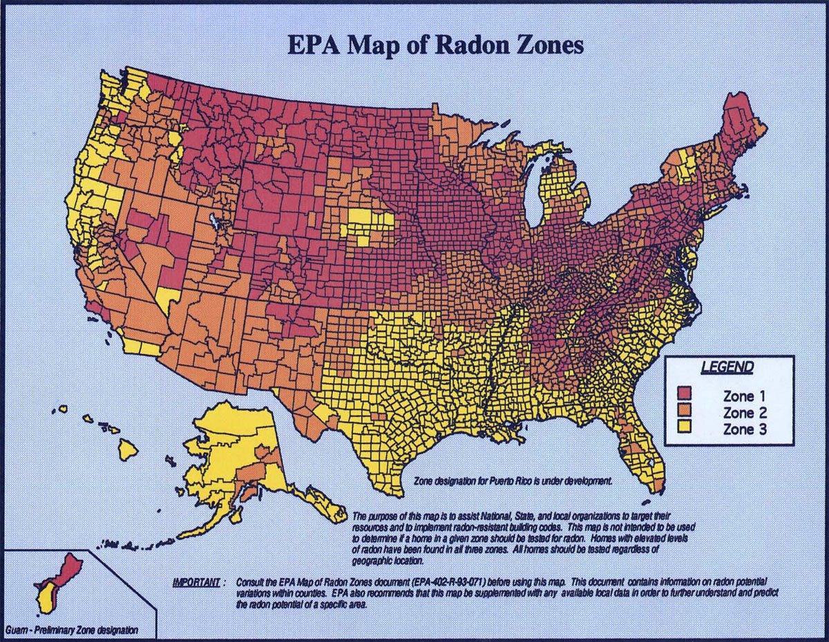 EPA Radon Map for US