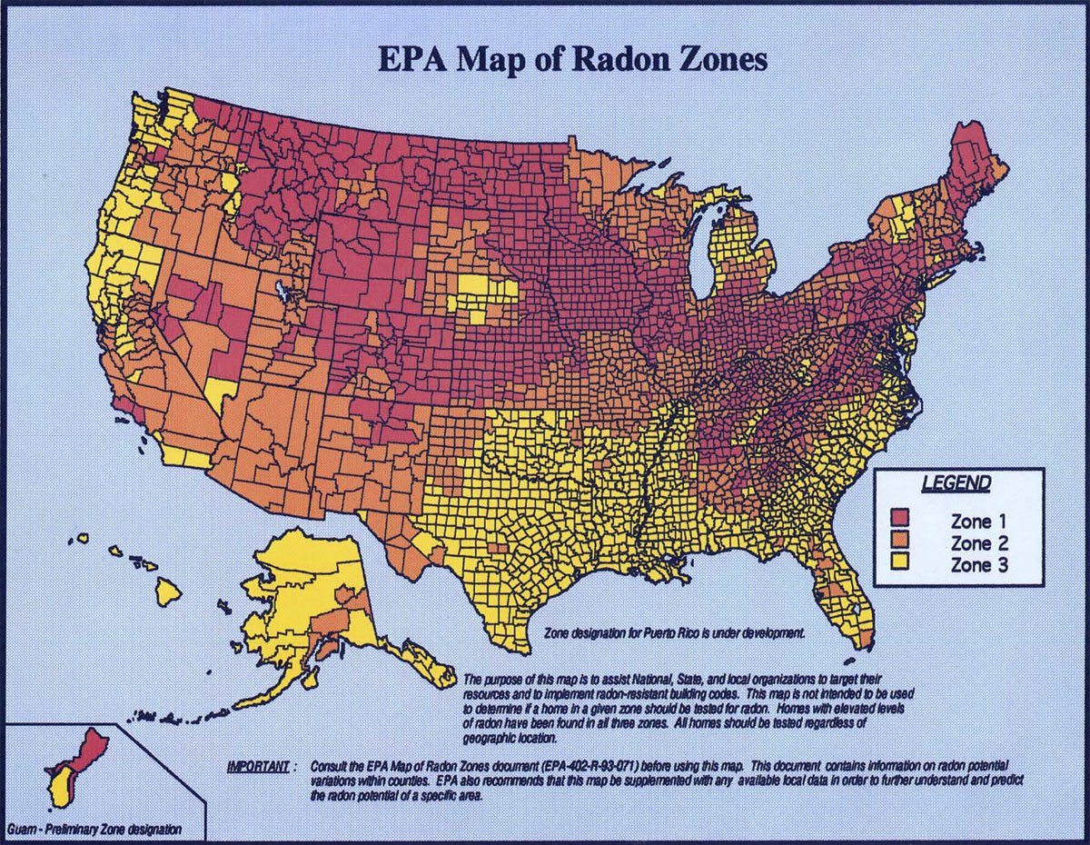 EPA Radon Map for US